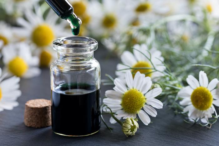 Kamillenöl in Glasflasche neben Kamillenblüten